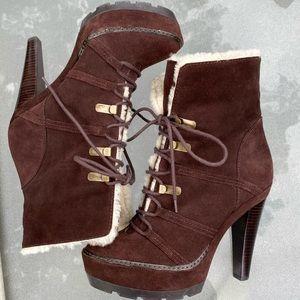 Coach Shoes - 🆕 Coach Sydney Shearling Booties Suede Fur Heels